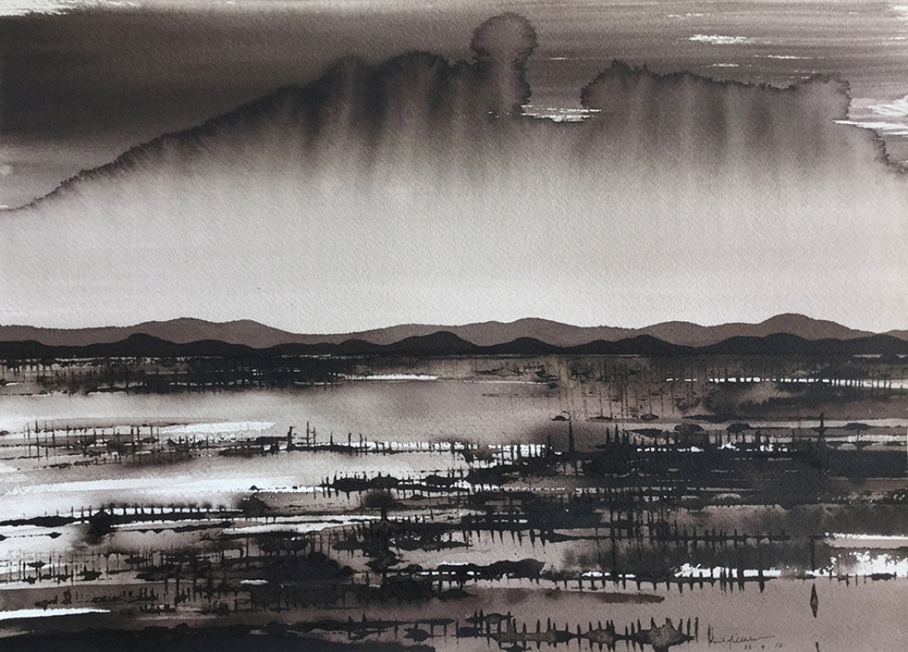 Approaching Storm over Mutwintji; ink on paper,30x42cm