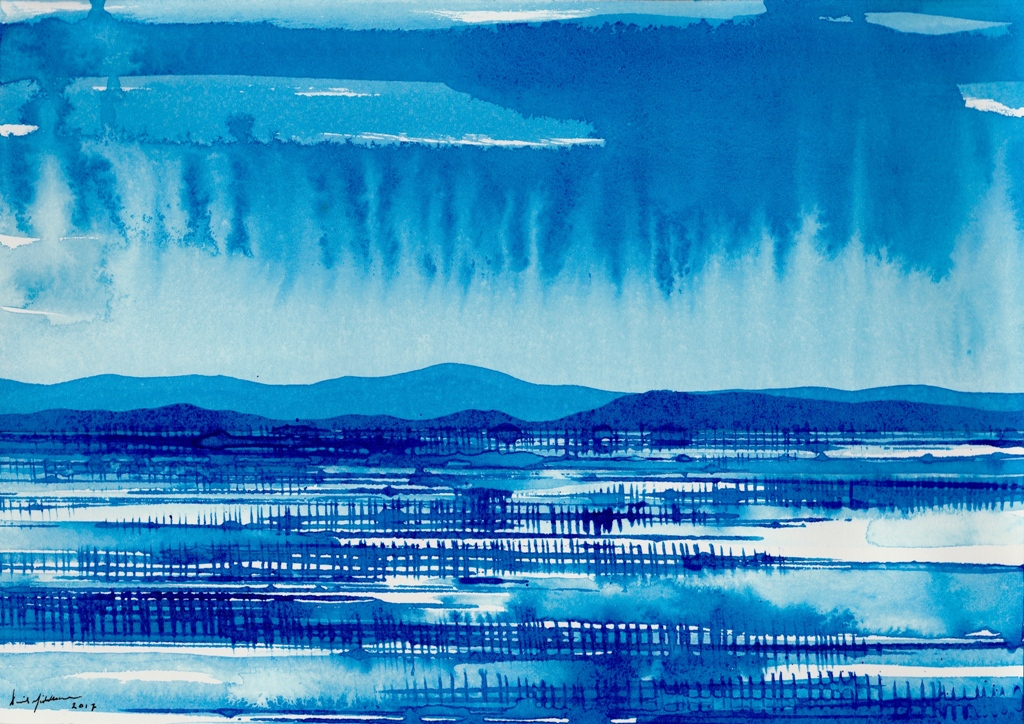 Blue, Desert Storm, ink on paper 21x30cm