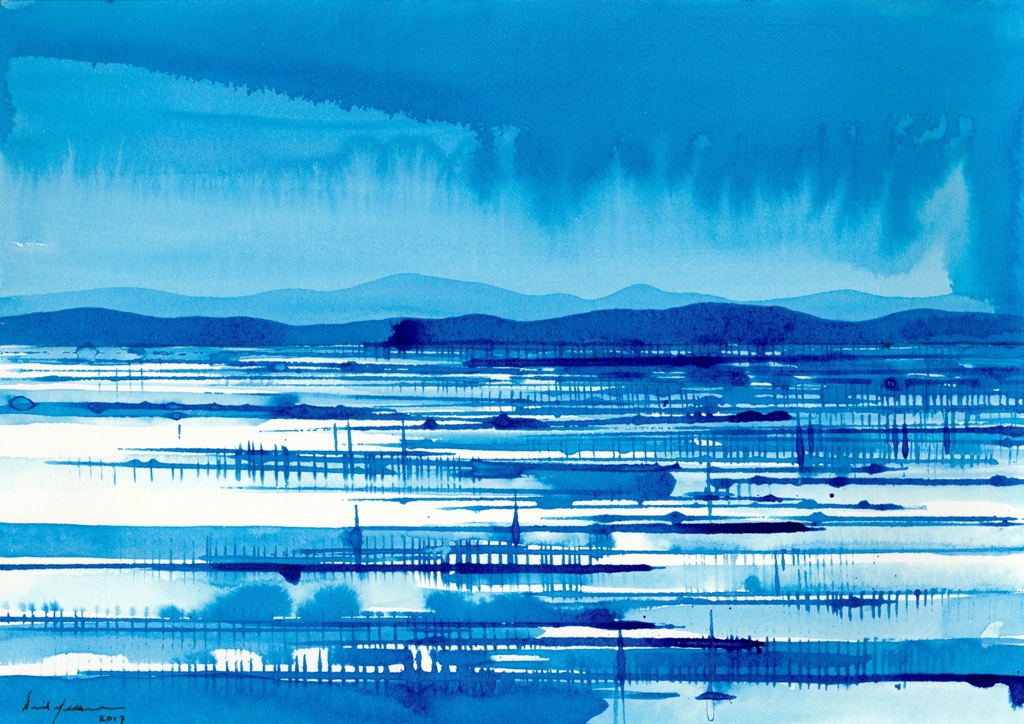 Blue Flood Plain, ink on paper 21x30cm