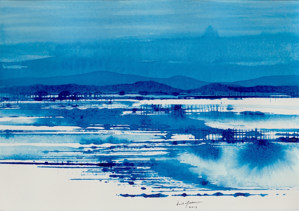 Blue Salt Lake and Range, ink on paper 21x30cm