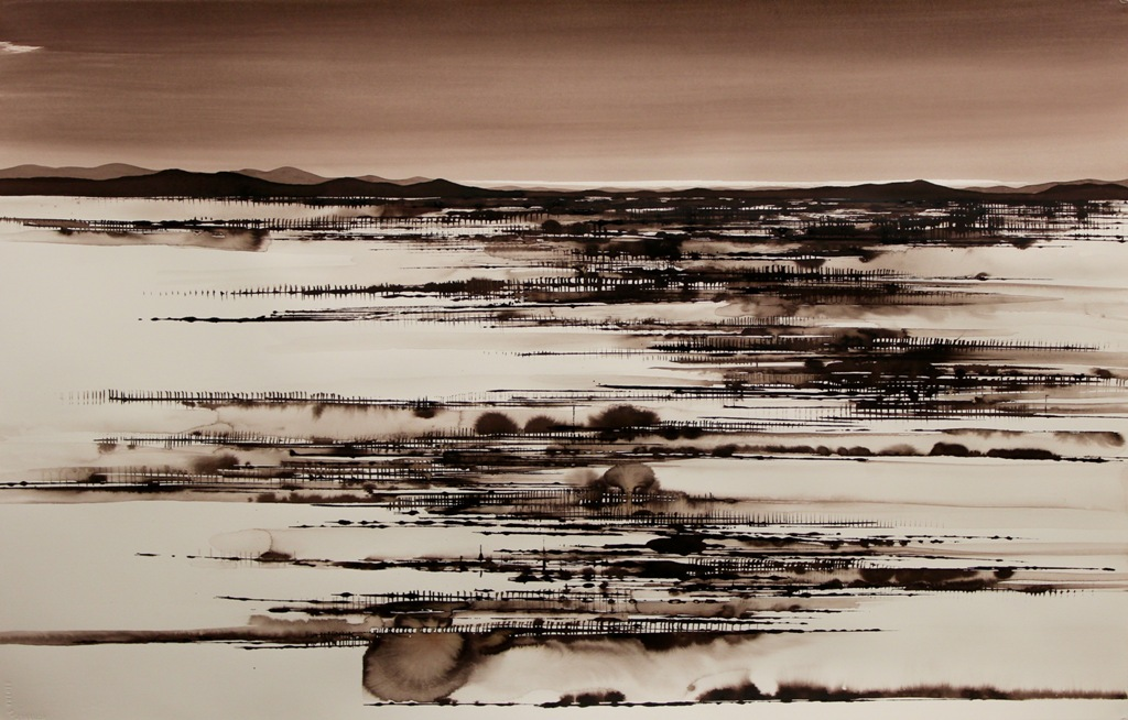 LakePerry Overflow,ink on paper, 66x112cm