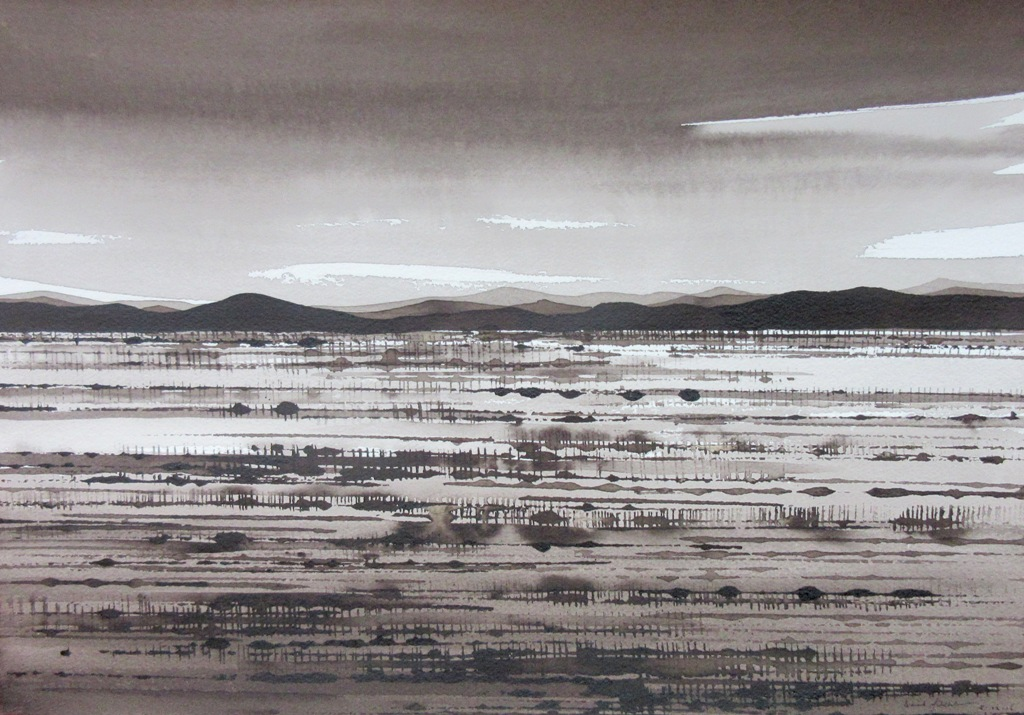 Desert Field and Spinifex, ink on paper, 30c42cm