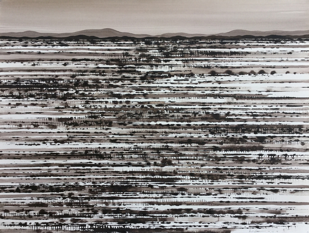 Fields, North of White Cliffs; ink on paper58x76cm