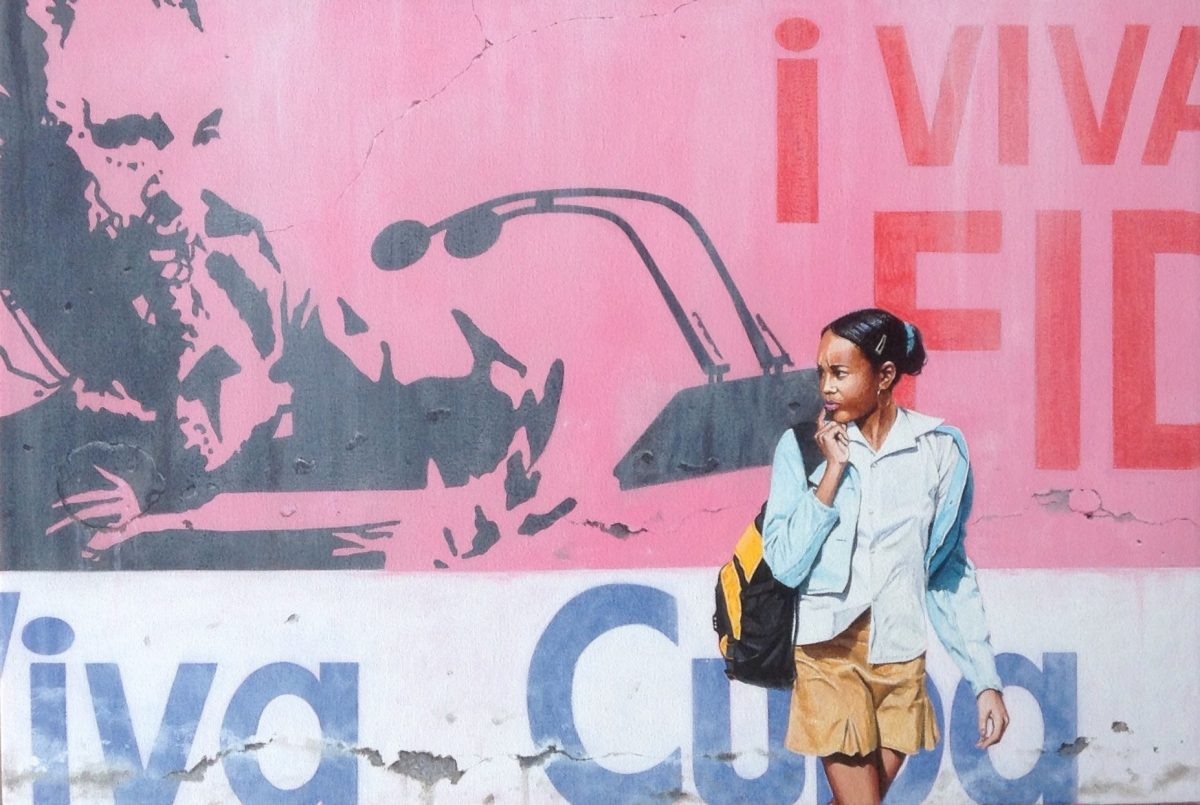 Fidel with school girl - Cuba (study) 61cm x 41cm 2015