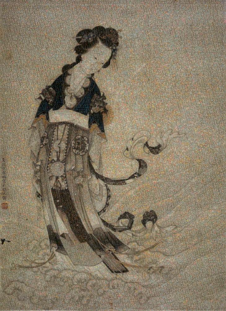 丁云鹏 洛神图 小图, 140cmX100cm, Mosaic