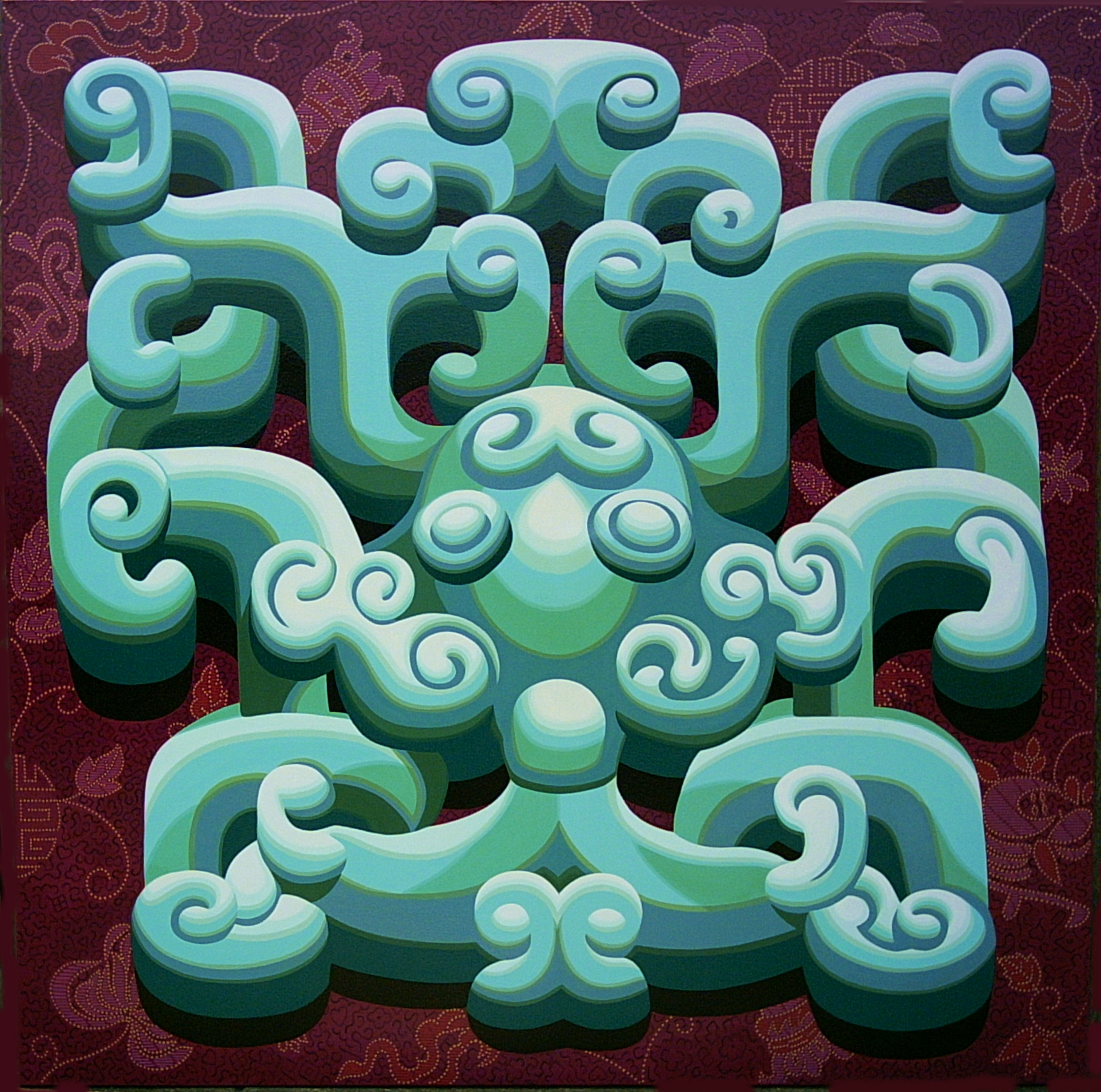 $28000 China Maze 180x180cm Acrylic Canvas