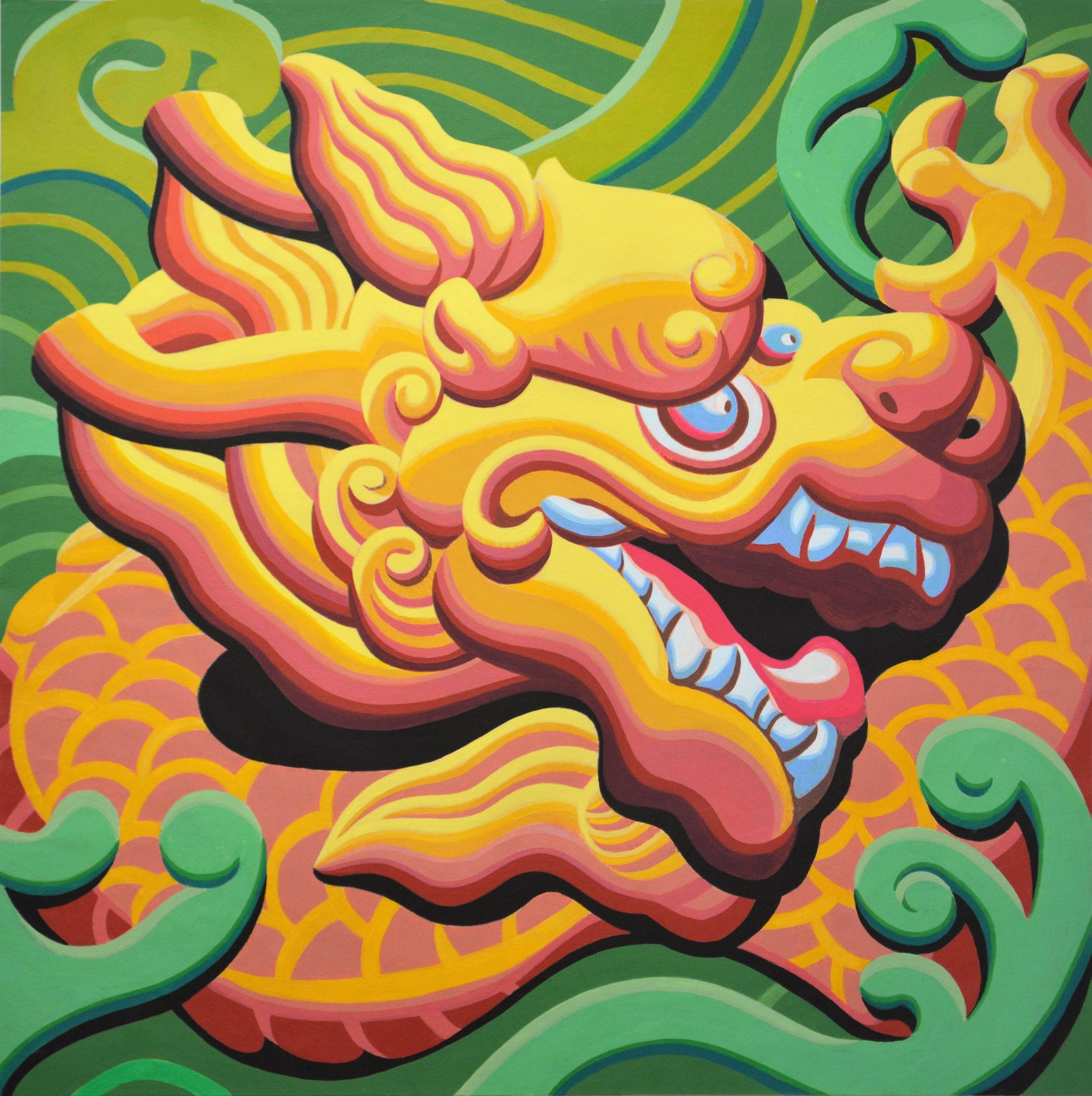 $5000 Triptych-DragonHead1-Yellow76x76cmAcrylicPaper