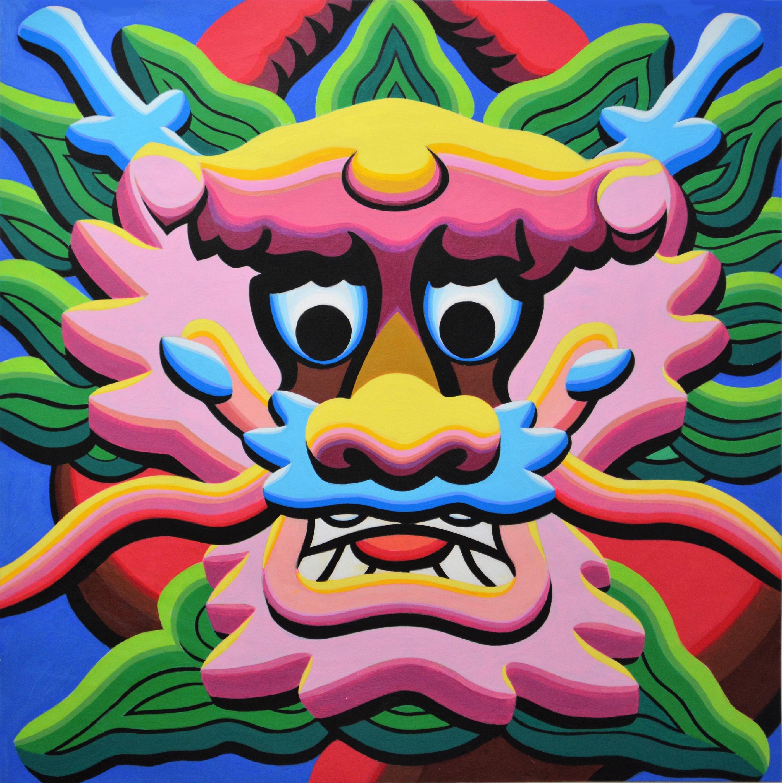 $5000 Triptych-DragonHead2-Pink76x76cmAcrylicPaper