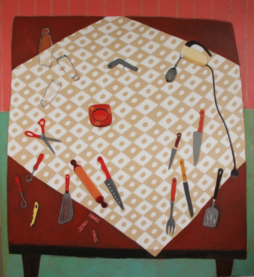 Egg Beater, Scissors and Ashtray - acrylic on canvas 167 x 152cm
