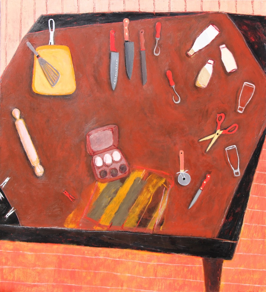 Eggs, Knives and Rolling Pin - acrylic on canvas 167 x 152cm
