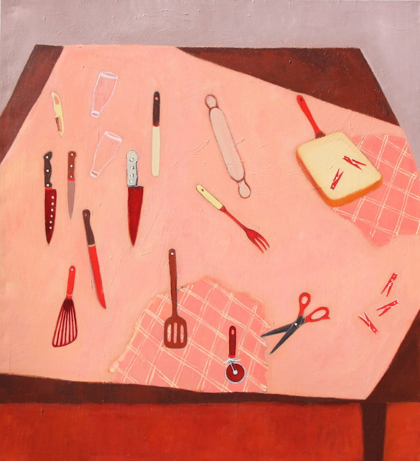 Pegs, Scissors and Rolling Pin - acrylic on canvas 167 x 152cm