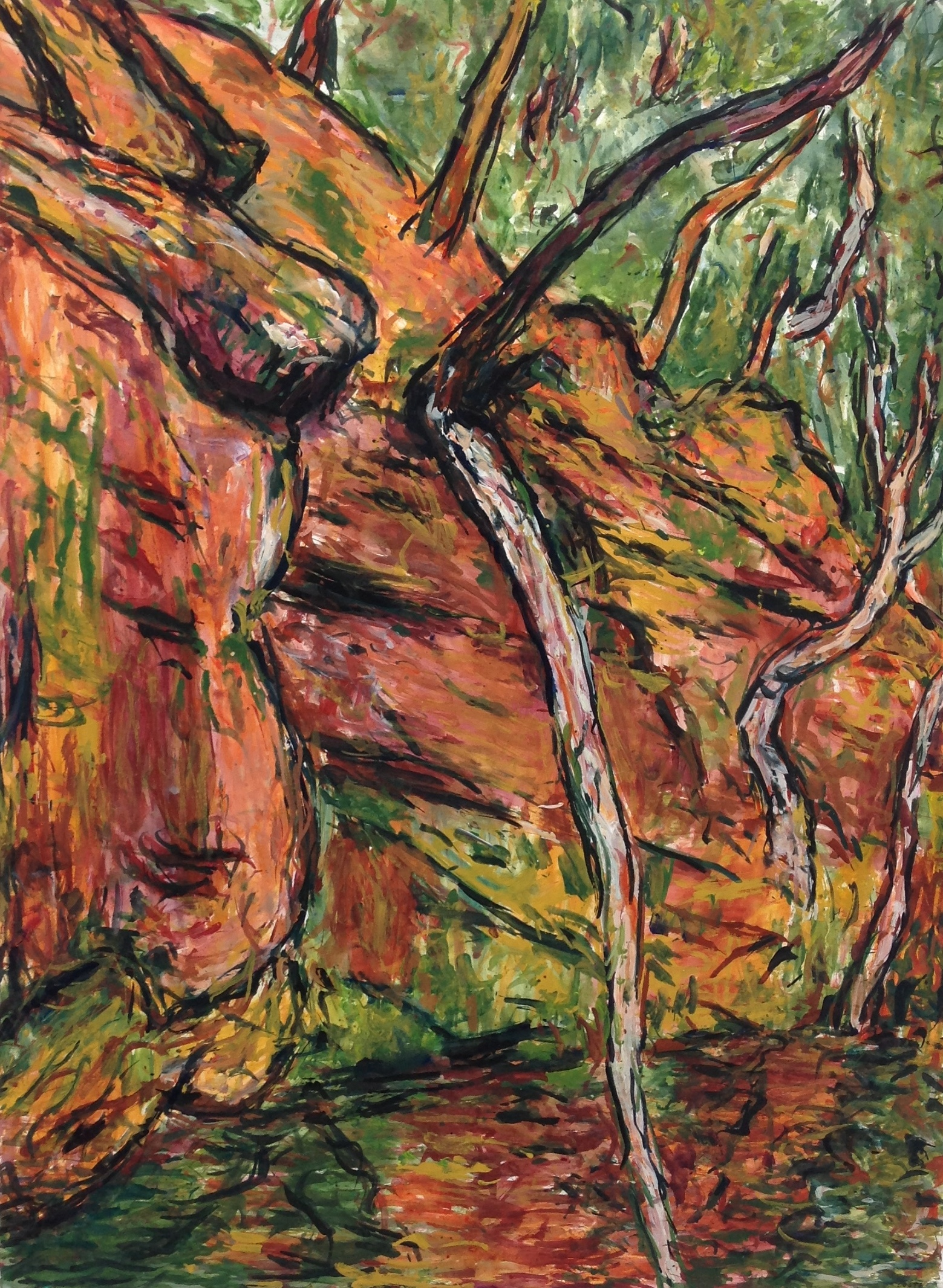 Tony Costa Fallen Tree Audley 152x114 cm mixed media on paper $ 9000