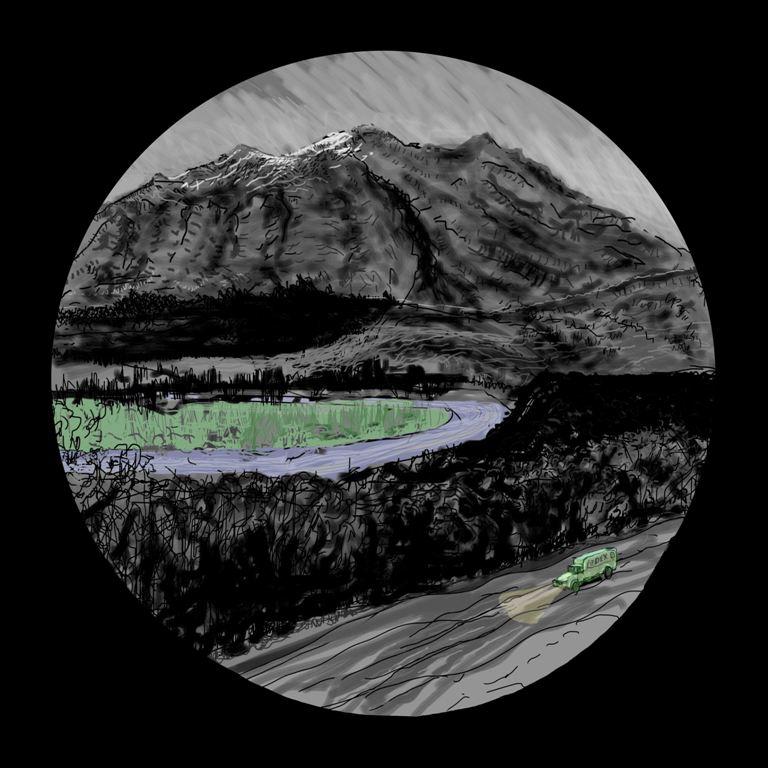 Art Atrium Paul Connor Alpine Trucker iPad digital print 110x110cm