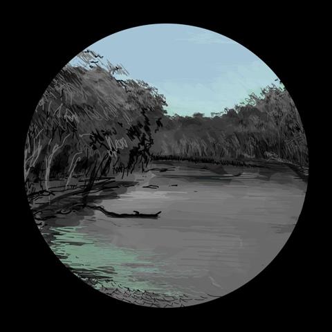 AA Paul COnnor Dark Lake iPad #3 111x110cm