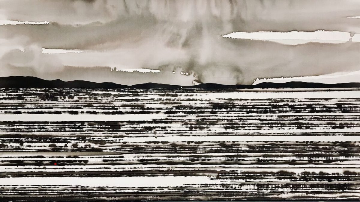 Art Atrium David Middlebrook Rain and Desert Field, Central Australia