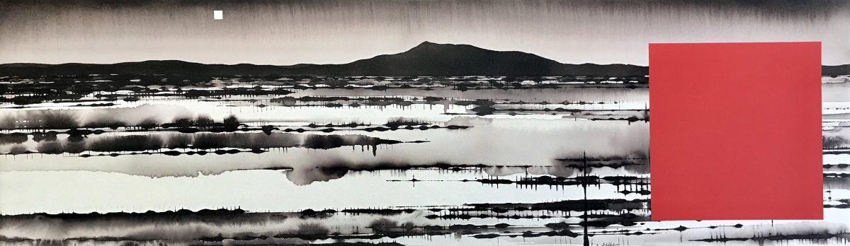 Art Atrium - David Middlebrook - Floodplain, China and I, ink and acrylic on canvas. 30x100cm