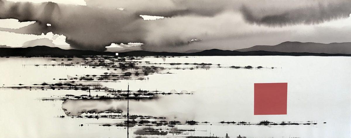 Art Atrium - David Middlebrook - Storm, Desert, China and I, ink and acrylic on canvas. 40x100cm