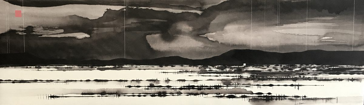 Art Atrium - David Middlebrook - Storm and Salt Lake, ink and acrylic on canvas. 30x100cm