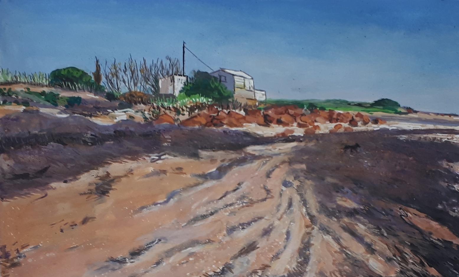 Sophie Dunlop-Beach shack, Copper, Coast, gouache on paper