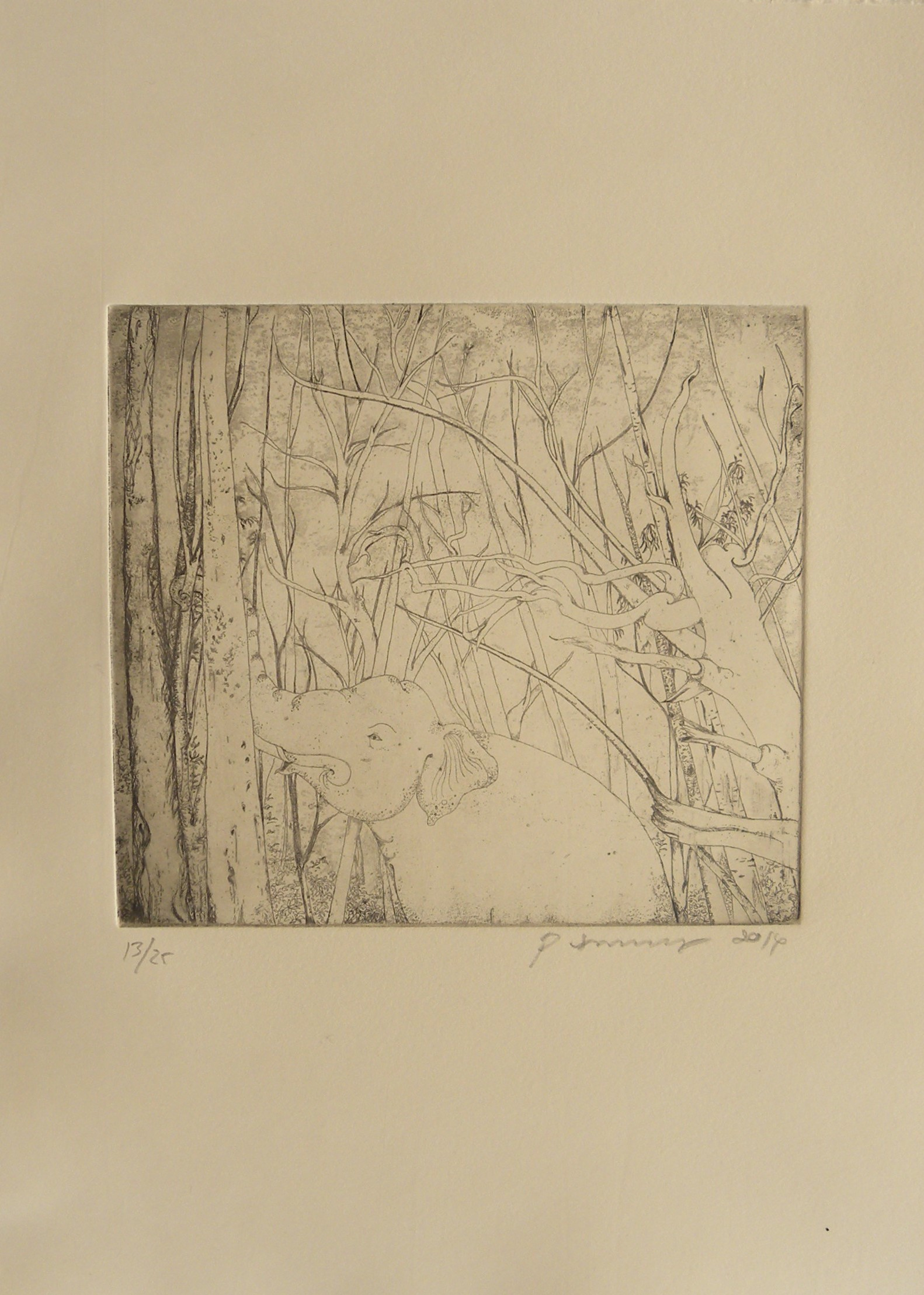 Art Atrium - Phaptawan Suwannakudt-Elephant and the Bush #1, etching Sepia on Fabiano edition 13:25 (unframe) 2014