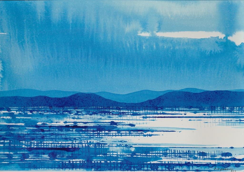 Blue Desert Lake and Range, ink on paper 21x30cm