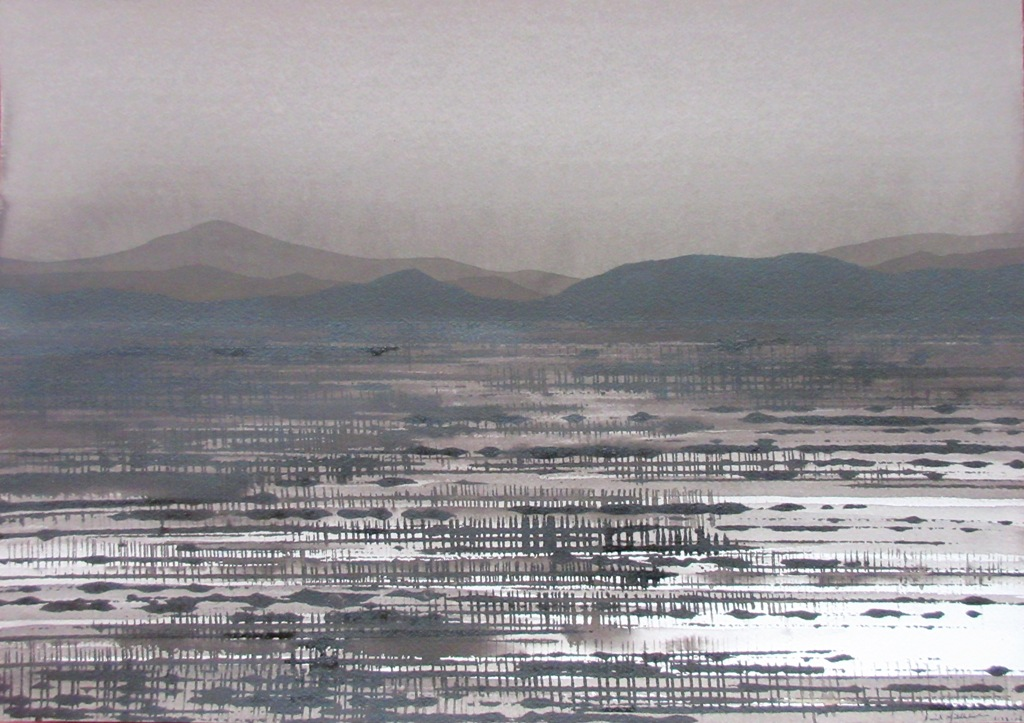 Desert Nocturn; ink on paper, 30x42cm