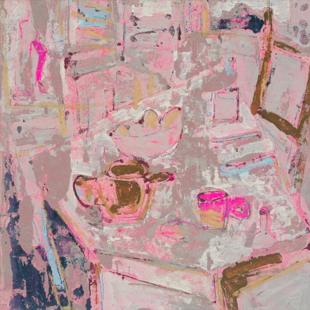 The pink cup 40x40cm, acrylic and mixed media on un-primed canvas