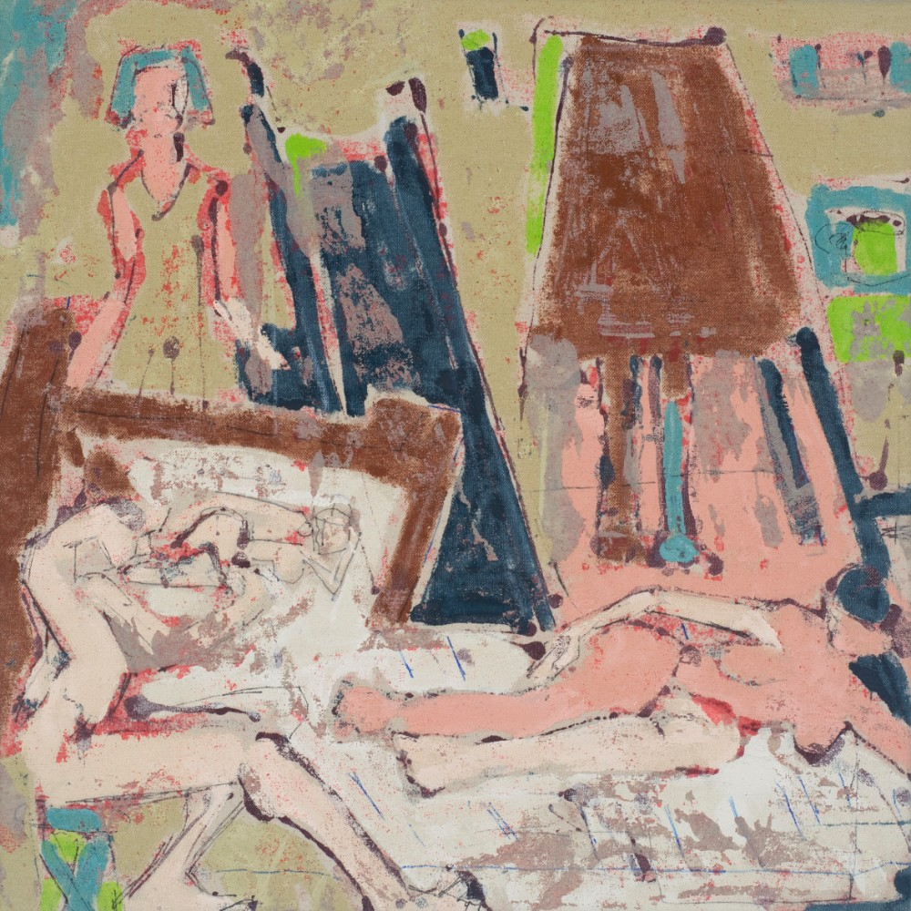 Thursday life drawing #1 40x40cm, acrylic and mixed media on un-primed canvas