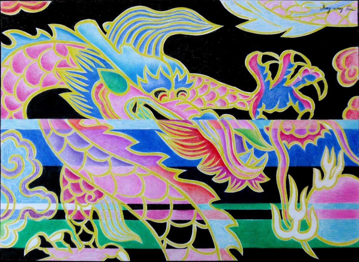 $2500-Dragon In Water #10 PencilPaper 35x50cm