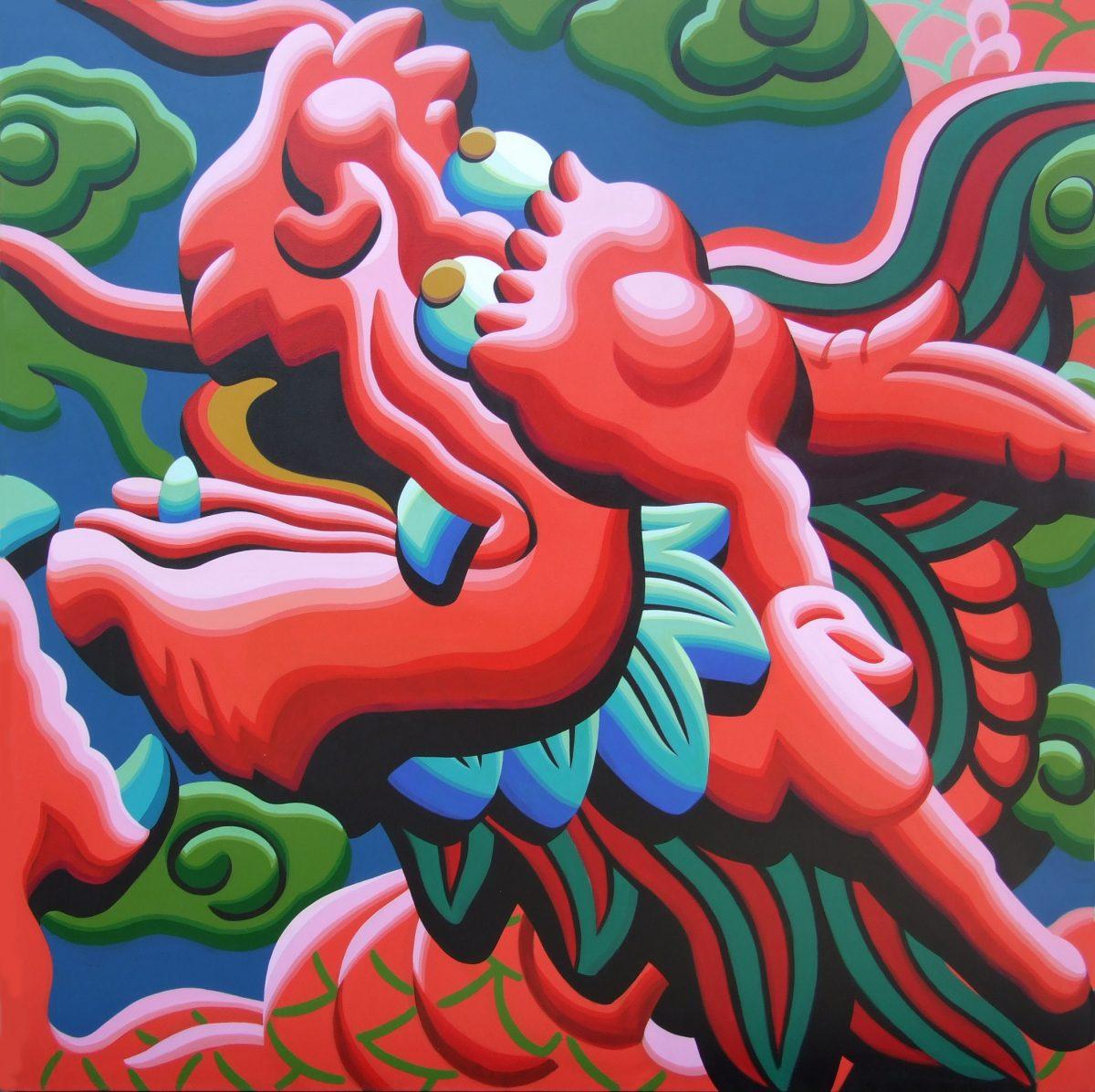 $5000 Triptych-DragonHead3-RedOrange76x76cmAcrylicPaper