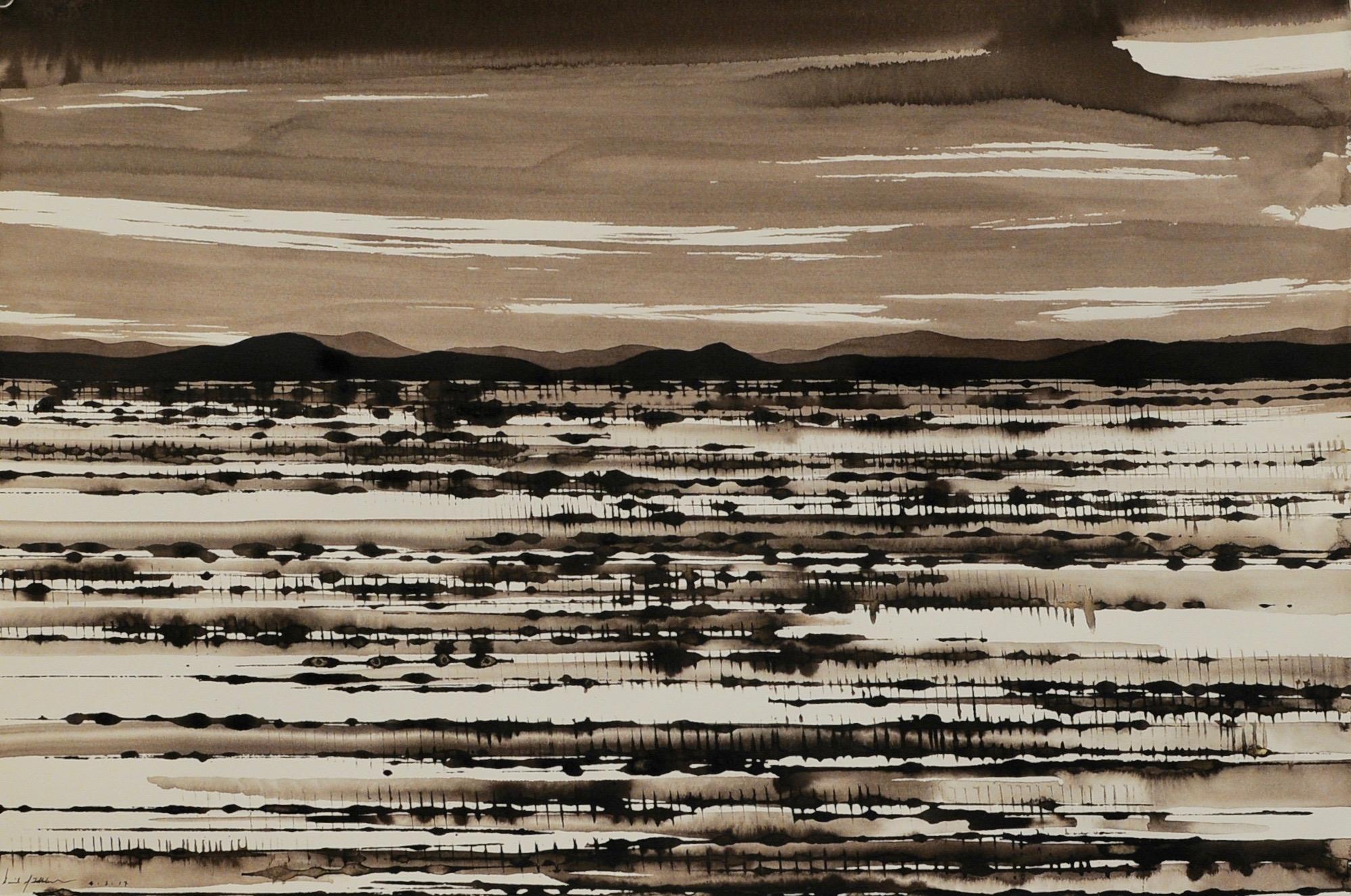 Desert Landscape I, ink on paper, 38x57cm