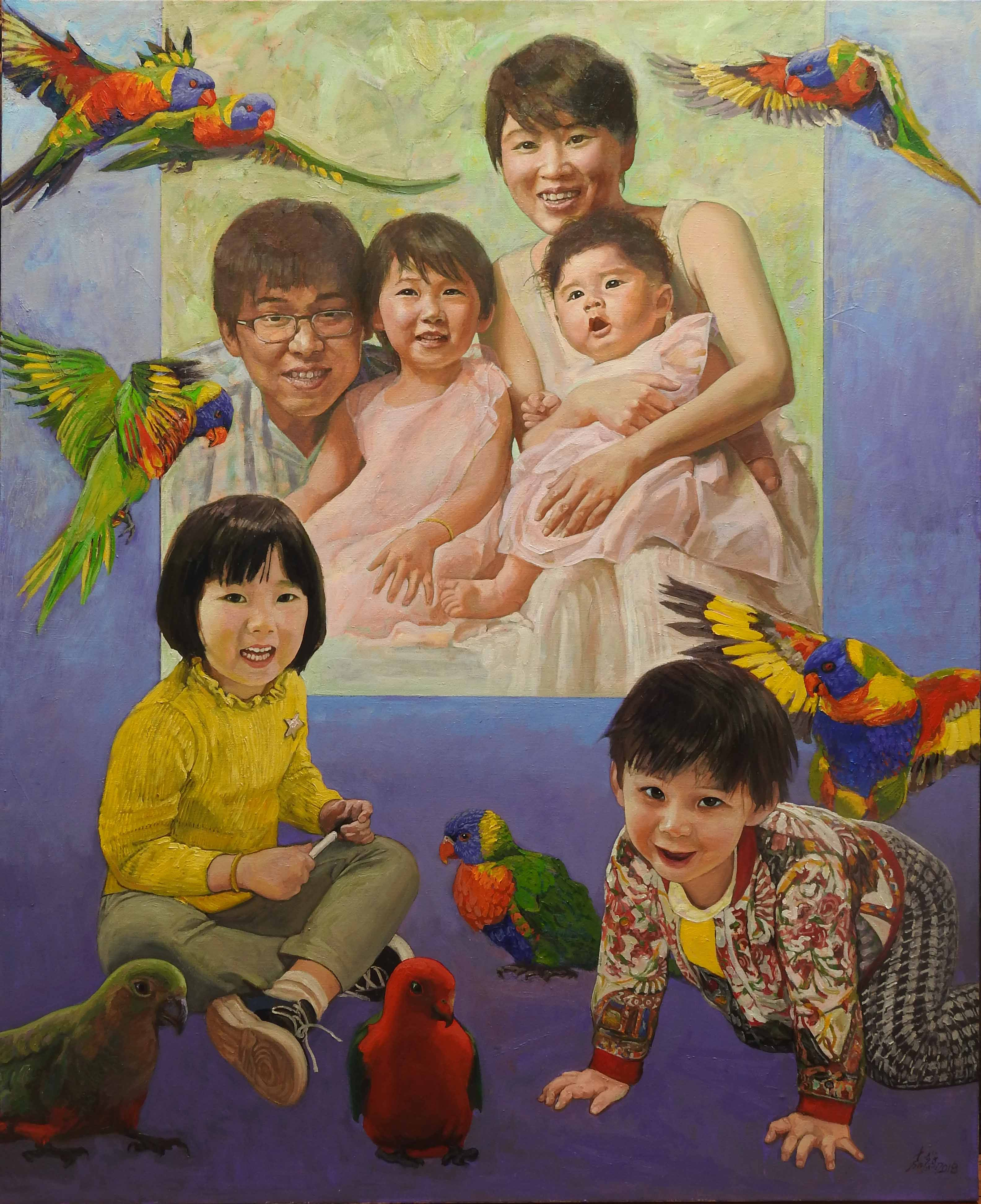 14 Madan Family马丹一家(2018) Oil on canvas, 167 x 137cm
