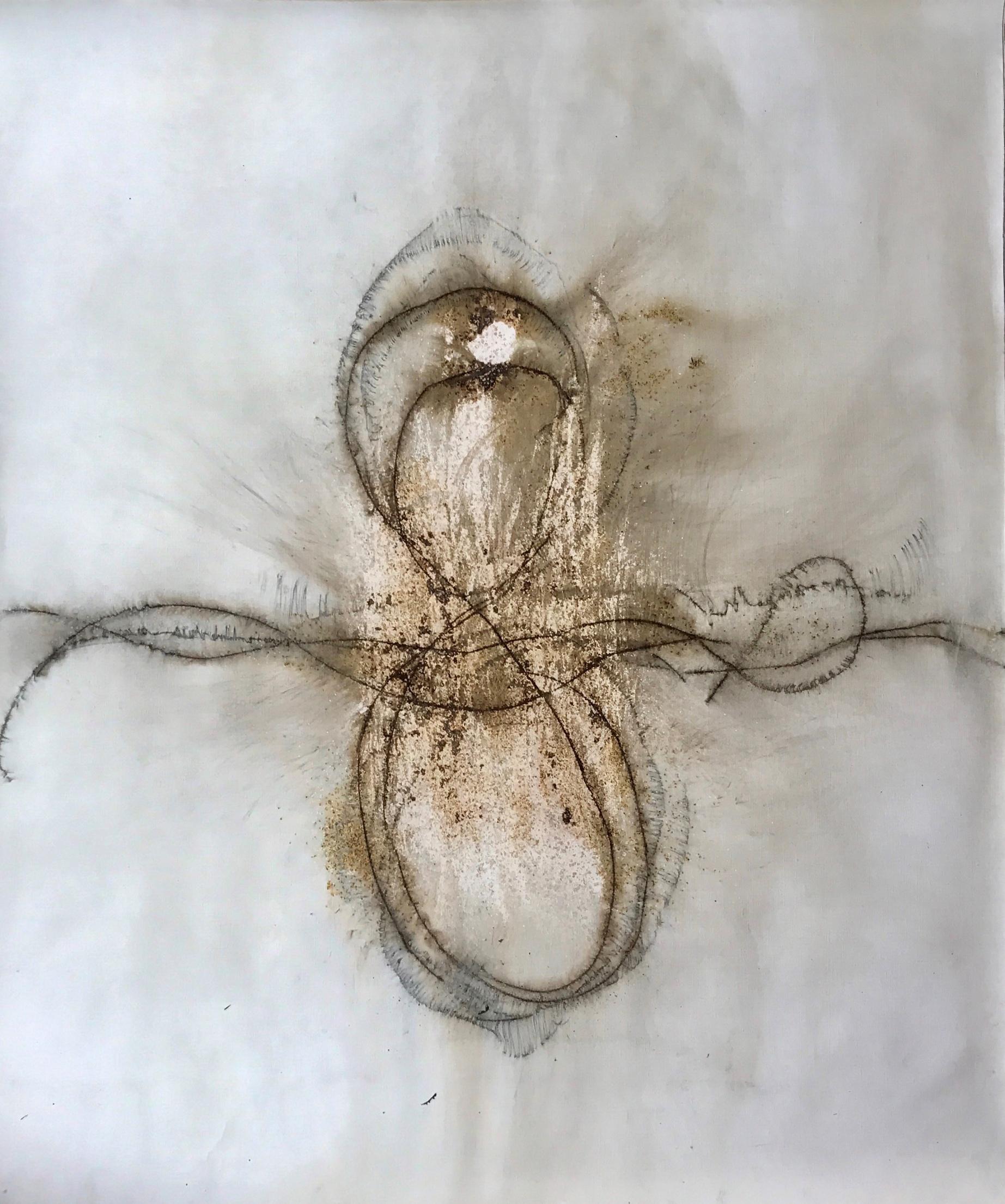 Stephen Woodbury Infinite - Gunpowder on linen 135x120cm