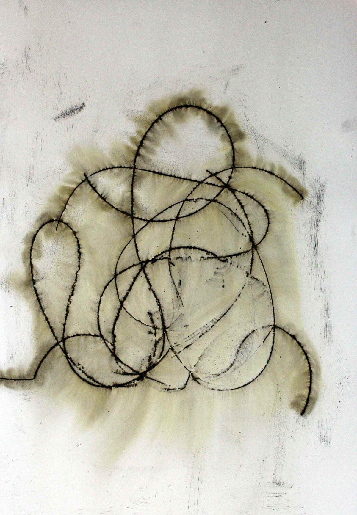 Steve Woodbury - Nurturing, gunpowder on paper 100x70cm