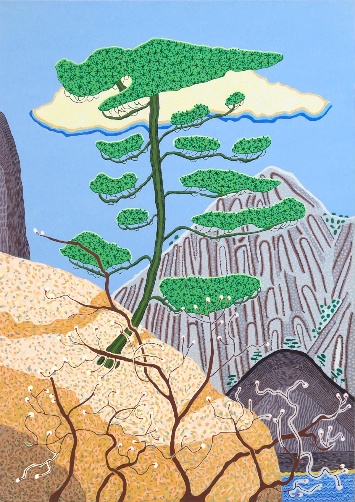 Art Atrium - Jacqueline Balassa Pine Tree - Yellow Mountain