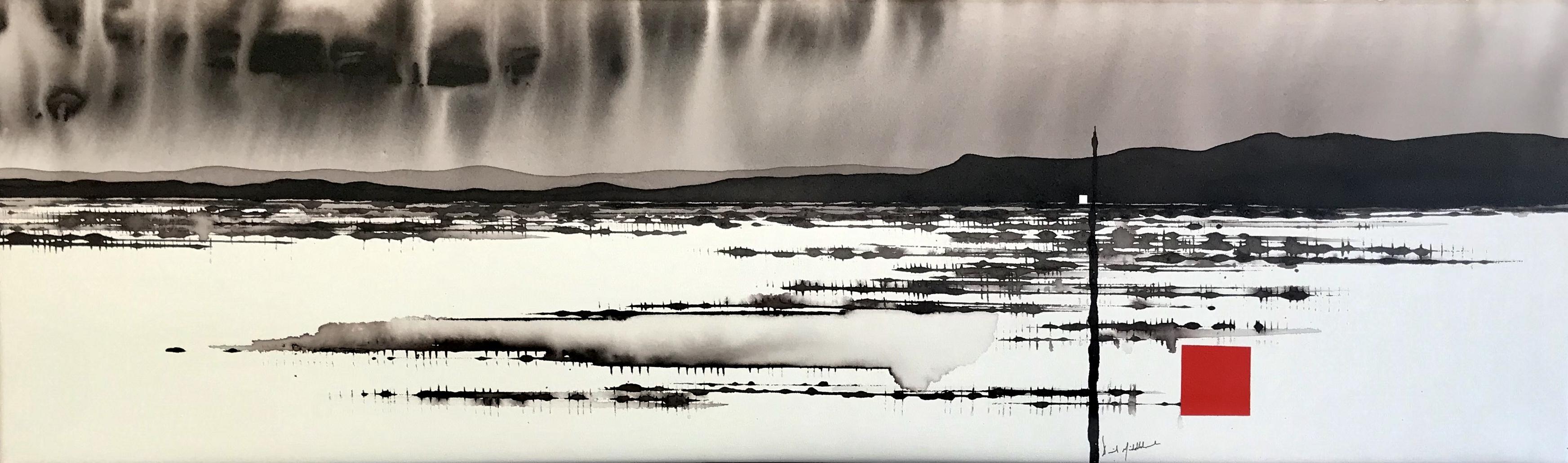 Art Atrium - David Middlebrook - Edge of Desert Lake, ink and acrylic on canvas 30x100cm.