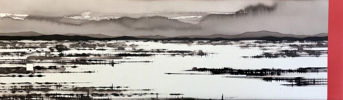Art Atrium - David Middlebrook - Flooded Salt Lake, China and I, ink and acrylic on canvas 30x100cm