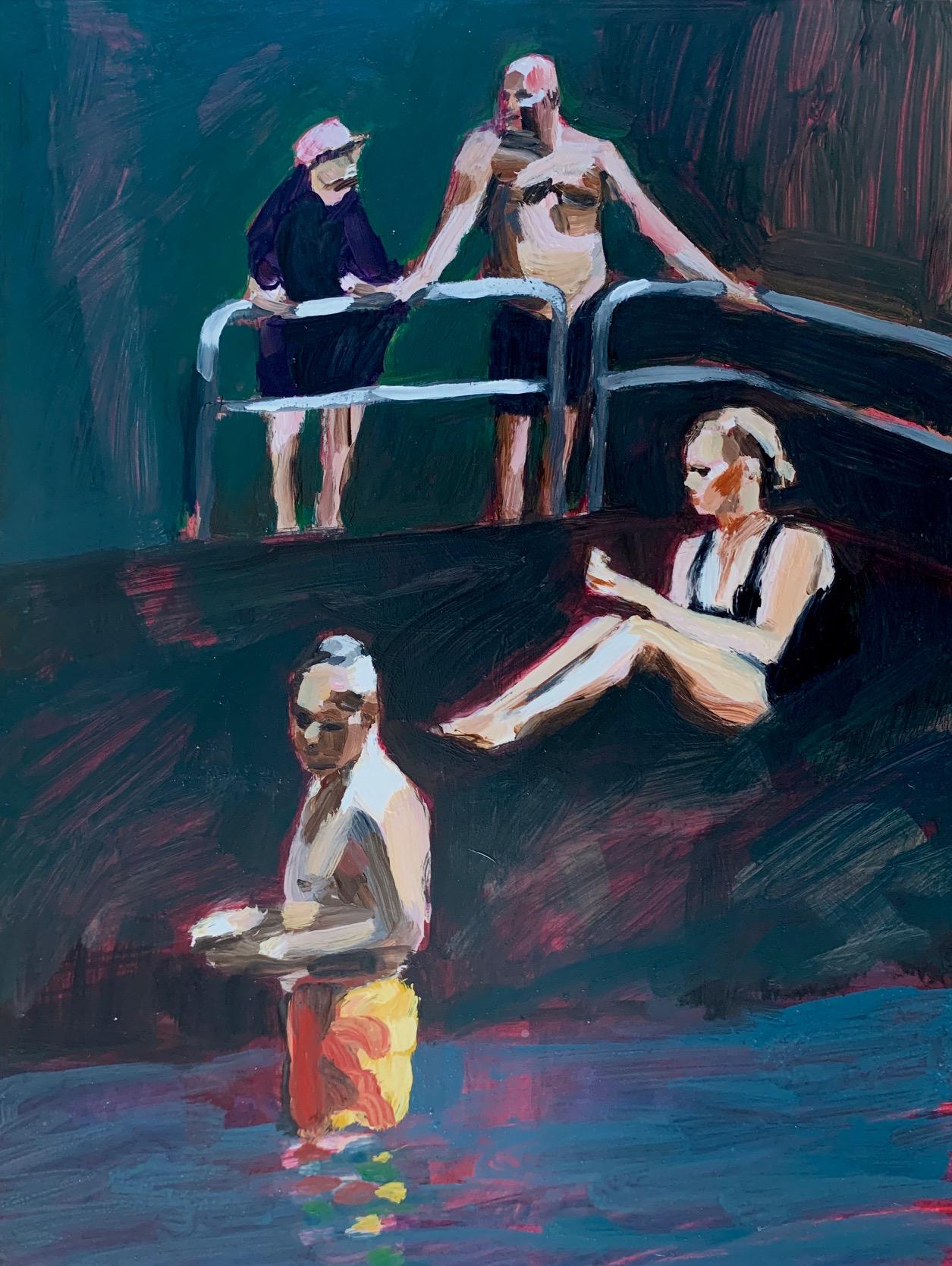 Nick Ferguson,Four figures - framed acrylic on board