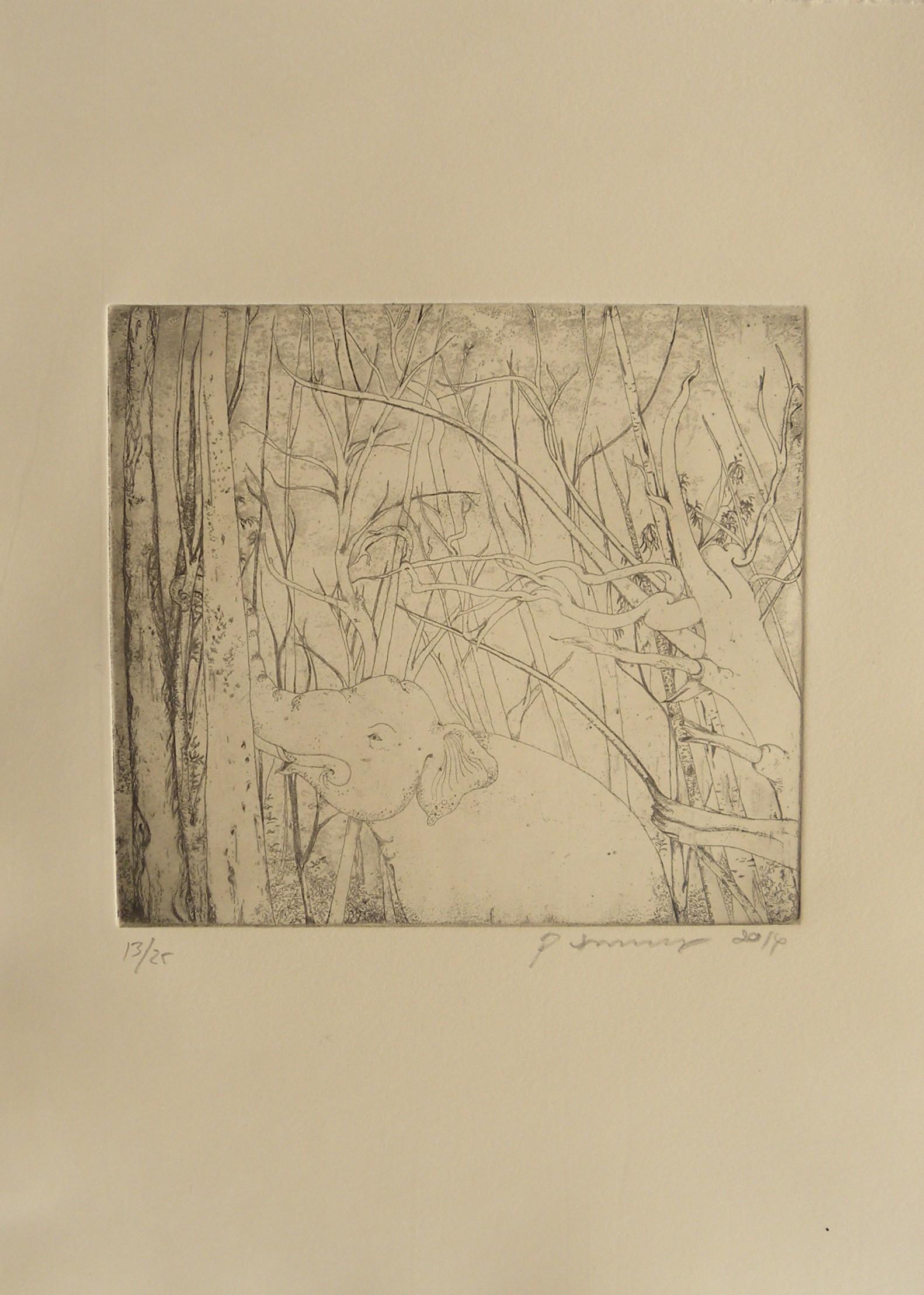 Art Atrium - Phaptawan Suwannakudt-Elephant and the Bush #1, etching Sepia on Fabiano edition 13:25 (unframe) 2014