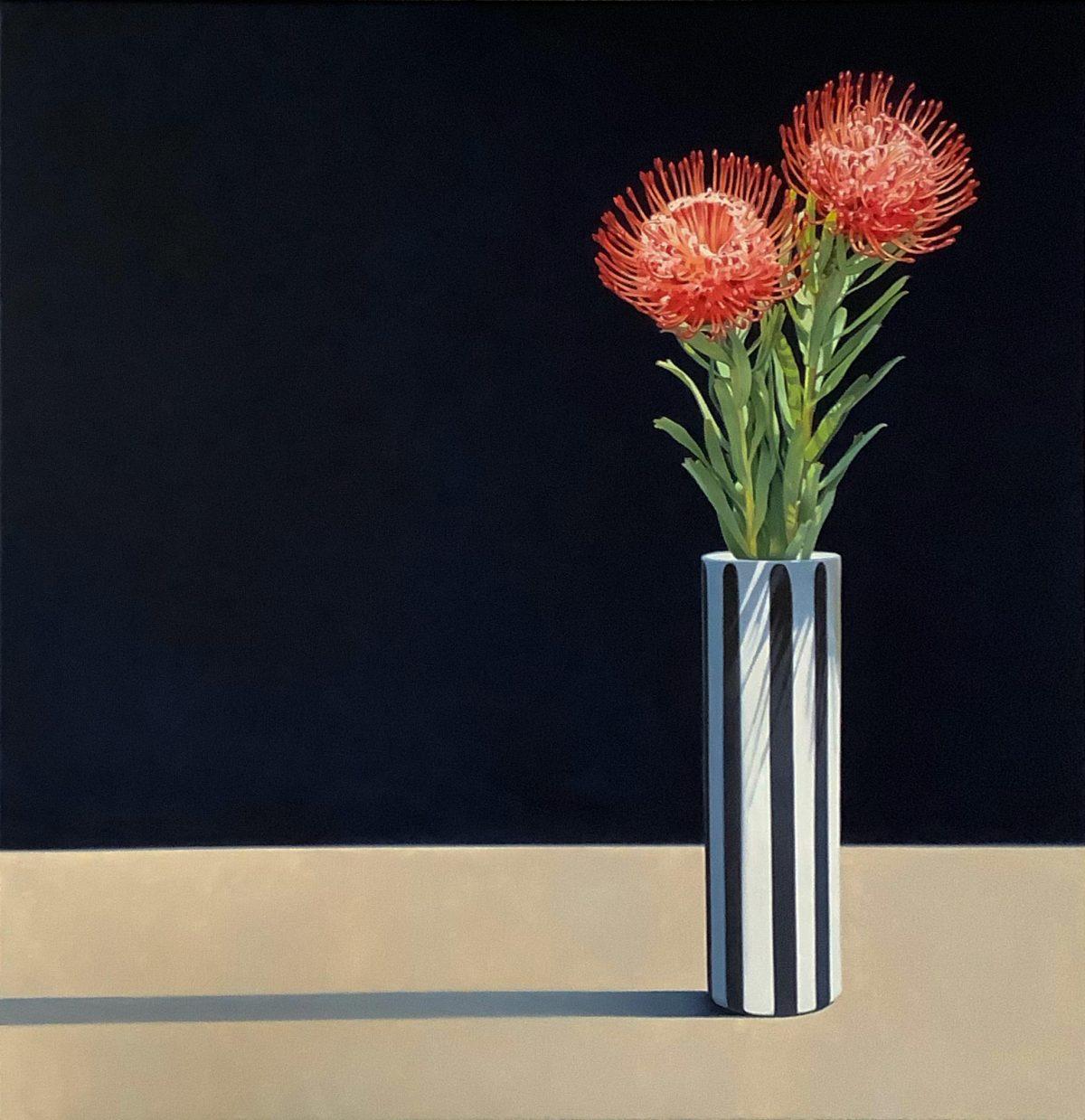 Art Atrium Scott McDougall Pincushion Protea 75cm x 75cm oil on canvas
